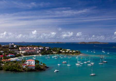 Sailing into Cruz Bay on the island of St John in the US Virgin Islands photo