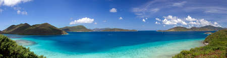 panoramic beach: Leinster Bay on the Caribbean island of St John in the US Virgin Islands Stock Photo