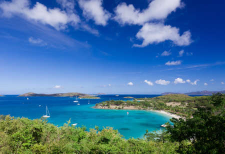 Panorama of Caneel Bay on the Caribbean island of St John in the US Virgin Islands Stock Photo