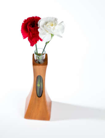 Single red and white spray carnation blossoms in a carved teak vase with unique opening showing the stem photo