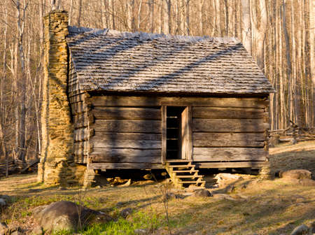 log cabin: Ancient wooden house in the Smoky Mountains Stock Photo