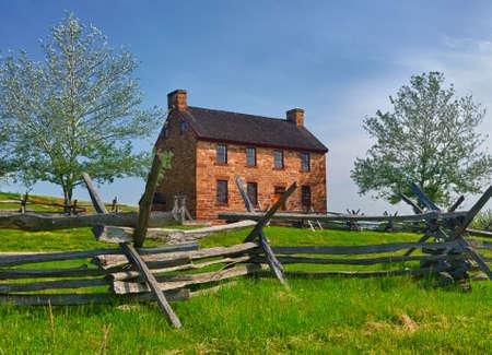 The old stone house in the center of the Manassas Civil War battlefield site near Bull Run Stock Photo