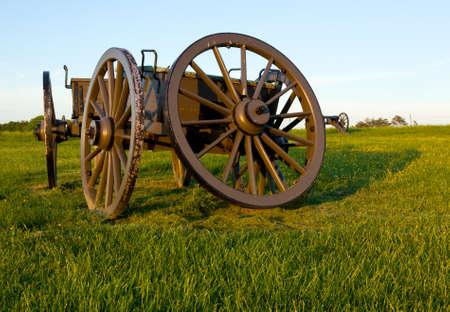 Militair cartwheel op de slagveldlocatie van Manassas Civil War nabij Bull Run
