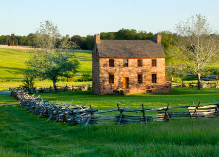 reconstructed: The old stone house in the center of the Manassas Civil War battlefield site near Bull Run Stock Photo