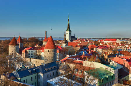 estonia: Capital of Estonia, Tallinn is famous for its World Heritage old town walls and cobbled streets. The old town is surrounded by stone walls and distinctive red roofs Stock Photo