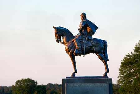 acquired: Sunset view of the statue of Andrew Jackson at Manassas Civil War battlefield where the Bull Run battle was fought.  The statue was acquired for the nation in 1940. 2011 is the sesquicentennial of the battle