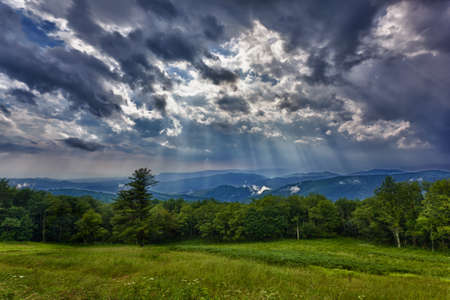 Storm sweeps over Shenandoah Valley from Skyline Drive in the Blue Ridge Mountains of Virginia Stock Photo - 9902808