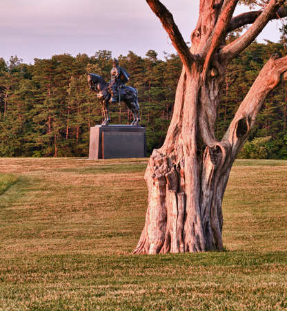 Sunset view of the statue of Andrew Jackson at Manassas Civil War battlefield where the Bull Run battle was fought.  The statue was acquired for the nation in 1940. 2011 is the sesquicentennial of the battle photo