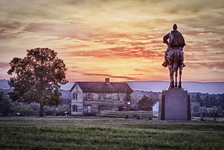 Sunset view of the statue of Andrew Jackson at Manassas Civil War battlefield where the Bull Run battle was fought.  Henry House is in the middleground. The statue was acquired for the nation in 1940. 2011 is the sesquicentennial of the battle photo