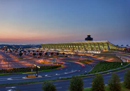 Dulles Airport, Virginia, USA: July 10, 2011: Washington Dulles International Airport as the sun rises at dawn.