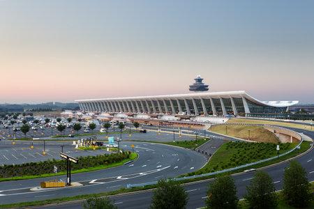 Dulles Airport, Virginia, USA: July 10, 2011: Washington Dulles International Airport as the sun rises at dawn.