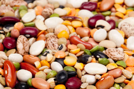 garbanzo bean: Macro shot of many different types of beans,peas and barley Stock Photo