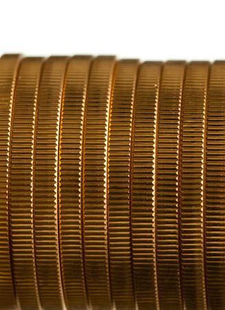 ounce: Gold Eagle one ounce coins in a stack and isolated against white