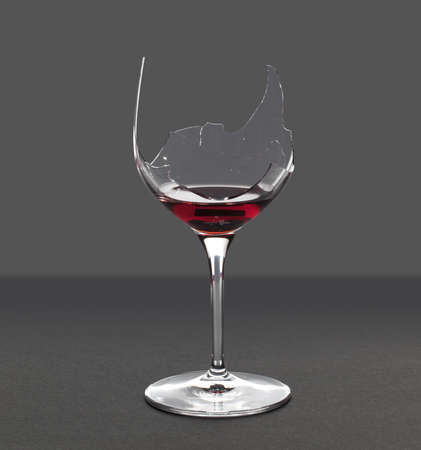 smash: Red wine in a broken wine glass with an extraction path saved in the file