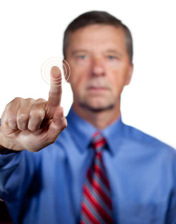 biometrics: Senior executive or security man opens sensor by pressing finger onto the plate