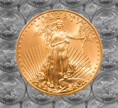 rendition: Black and white rendition of Gold Eagle one ounce coins in a patterns and stacked on each row with a single Liberty coin on the top