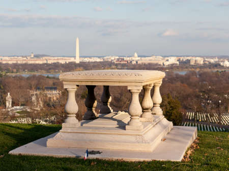 curtis: Memorial table outside Arlington House in Cemetery overlooks Washington DC at sunset