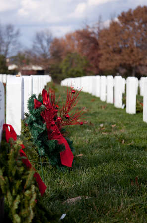 each year: Christmas wreaths on gravestones in Arlington National Cemetery. The wreathes have been donated each year since 1992. Editorial