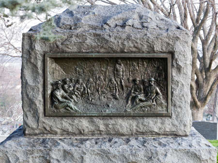 Memorial to surrender of Geronimo or Geronymo and Apaches in Mexico in 1883 in Arlington Cemetery