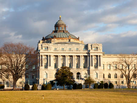 national congress: The setting sun lights up the US Library of Congress with warm light in late afternoon