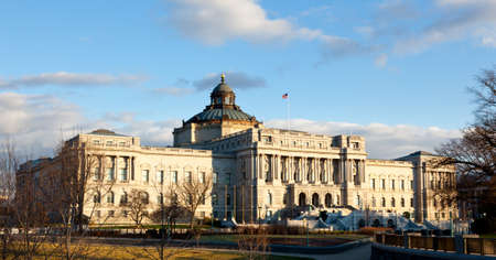 The setting sun lights up the US Library of Congress with warm light in late afternoon Stock Photo - 11781888