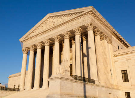Late afternoon winter sun illuminates front of supreme court in Washington in winter Stock Photo - 11782081