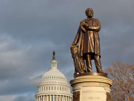 president: Statue of President James Garfield unveiled in 1887 in front of the US Capitol in Washington DC