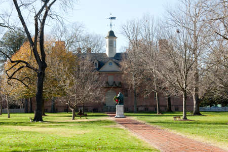 william: WILLIAMSBURG, VIRGINIA - DECEMBER 30: Statue in front of William and Mary College on December 30, 2011. The college was chartered in 1693 in Williamsburg. Editorial