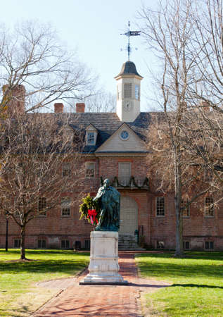 WILLIAMSBURG, VIRGINIA - DECEMBER 30: Statue in front of William and Mary College on December 30, 2011. The college was chartered in 1693 in Williamsburg.