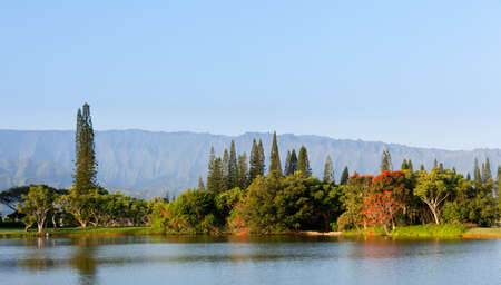 Ridges of the Na Pali mountains from Princeville in Kauai with lake and flowering trees Stock Photo - 12451445