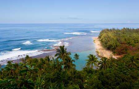 Horizontal image of Kee beach from Kalalau trail on Na Pali coast of Kauai Stock Photo - 12451412