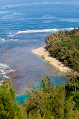 Vertical image of Kee beach from Kalalau trail on Na Pali coast of Kauai Stock Photo - 12451341