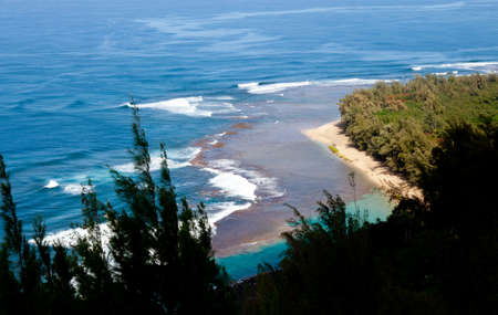 Horizontal image of Kee beach from Kalalau trail on Na Pali coast of Kauai Stock Photo - 12451362