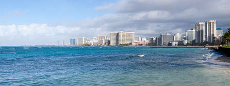 Panorama at sea level of the front at Waikiki in Oahu in Hawaii Stock Photo - 12451352