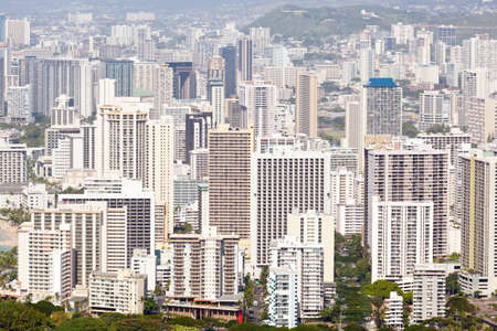 honolulu: Tower blocks of Waikiki in Oahu Hawaii from the summit of Diamond Head crater