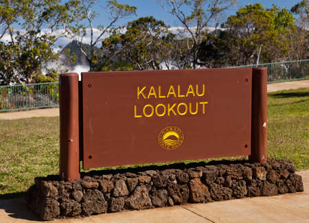 steep cliffs sign: Sign at overlook over Kalalau valley in Kauai Na Pali Coast Editorial