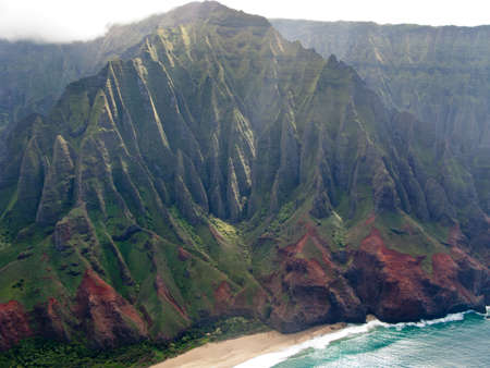 inaccessible: Aerial image of the inaccessible coast of Na Pali in Kauai