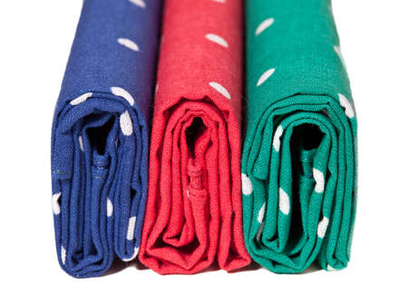 handkerchiefs: Folder linen handkerchiefs in red blue and green with white spots Stock Photo