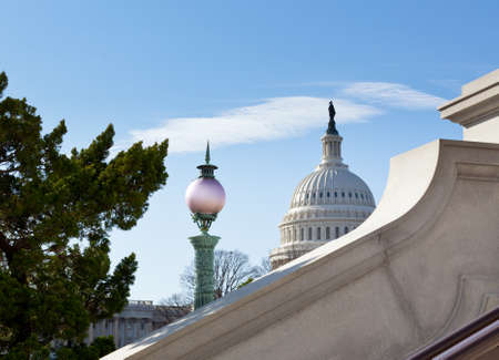 Dome of Capitol in Washington DC from steps of Library of Congress photo
