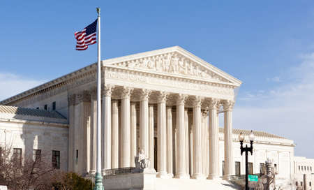supreme court: Facade of US Supreme court in Washington DC on sunny day