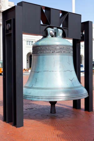 Replica of the Philadelphia Freedom bell hung outside Union station in Washington DC photo