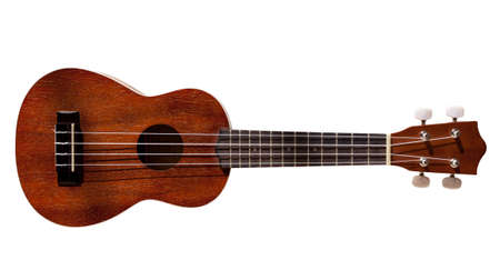 acoustical: Modern hawaii ukulele guitar isolated against white with four strings
