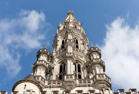 ornately: Ornate Brussels Town Hall in Grand Place with detail of tower