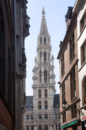 belgique: Ornate Brussels Town Hall in Grand Place through narrow alley