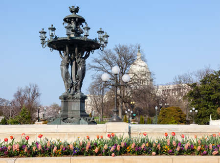ornately: Close up of Bartholdi fountain and Capitol in Washington DC. Bartholdi died in 1904 Stock Photo