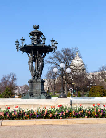 frederic: Close up of Bartholdi fountain and Capitol in Washington DC. Bartholdi died in 1904 Stock Photo