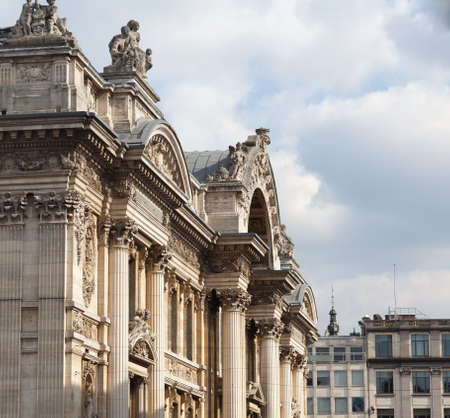 belgique: Facade of the Bourse in Brussels with the carved entrance arch