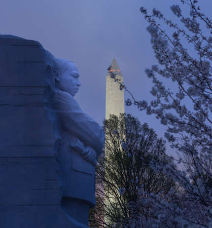 WASHINGTON DC - MARCH 18: Monument to Dr Martin Luther King on March 18, 2012. This is first year that cherry blossoms have flowered by statue