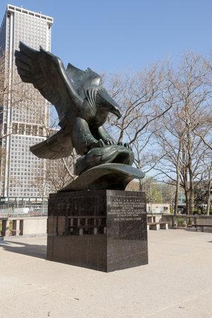 Memorial to sailor lost at sea in Atlantic in Battery Park in Manhattan New York Stock Photo - 13203823