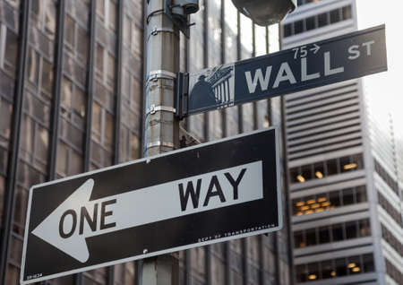 occupy wall street: One way sign on same pole as Wall Street gives political message